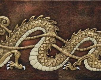 The Dragon of Awakening Enlightenment - Cast Paper - Fantasy art - Asian Dragon - Eastern Dragon - Chinese Dragon