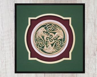 Three Celtic Horses - Cast Paper