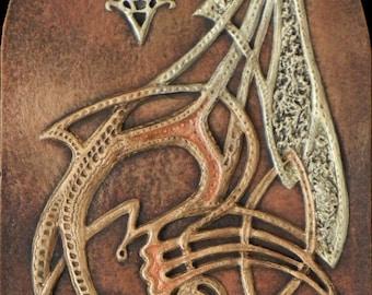 Dragon Knot - Cast Paper - Fantasy art - Celtic Dragon - Gold Dragon - Drake - Draco - Celtic Drake - Celtic Knotwork