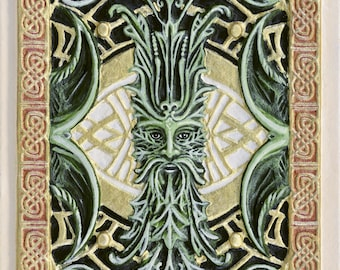 Green Man - Cast Paper - Fantasy art - Celtic Knot work - Cernunnos - Pan - Sylvanus - Puck