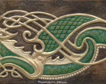 Psycho-Celtic Dragon - Cast Paper - Fantasy art - Celtic Dragon - Celtic Knot -  Draco - Wyrm - zoomorphic
