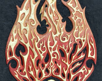 Phoenix - Cast Paper - Fantasy art - Phenix - Greek Mythology - Bennu - Fire - Solar - Bird - rising from the ashes