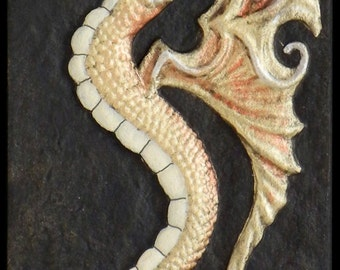 Sea Dragon  - Cast Paper - Fantasy art - Celtic Dragon - Steam Punk Dragon - Water Dragon - Drake - Draco - Gold Dragon