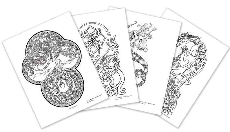 Celtic Fantasy Adult Coloring Pages - Digital Download - Tree of Life - Siren - Wild Irish Rose - Celtic Dragon - mermaid - scottish - knot