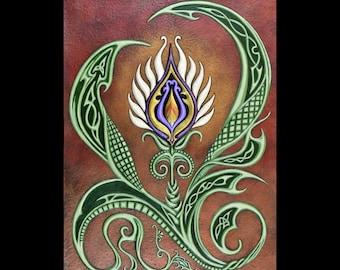 Flowering - Cast Paper - Celtic flower - fantasy - floral - celtic knot