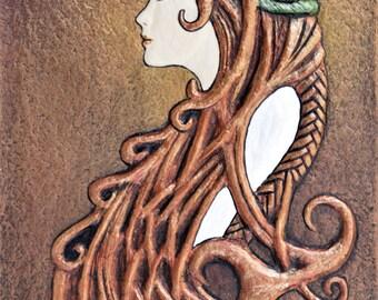 Celtic Bride - Cast Paper - Celtic Art - Scottish Bride - Irish Bride - red haired bride- wedding gift - bridal shower