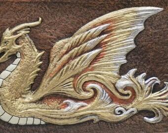 Water Dragon -  Cast Paper - Fantasy art - Asian Dragon - Eastern Dragon - Sea Dragon - Drake - Draco - Gold Dragon
