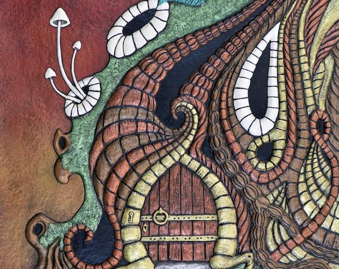 Portal - Cast Paper -Door in tree - Rabbit Hole - fantasy art - fairy house