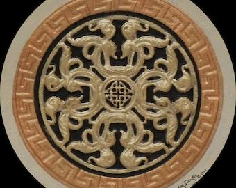 Medieval Flower - Cast Paper - Irish Art - Scottish - Celtic Knot  - medieval