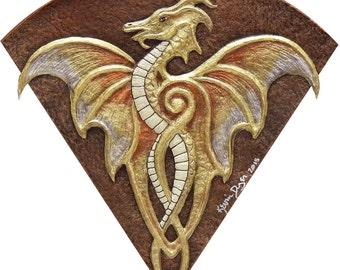 Fan Dragon - Cast Paper - Fantasy art -Gold Dragon - Drake - Draco - winged dragon -wyvern - wall art