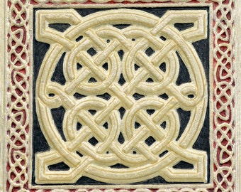 Celtic Square - Cast Paper - Irish Art - Scottish - Celtic Knot Work - Pictish - wall decor