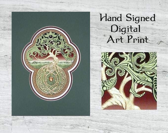 "Celtic Tree of Life- Framed Digital Art Print 12""x 16"""