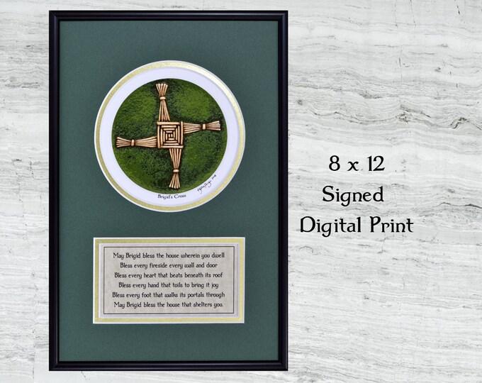 "Brigid's Cross Framed Digital Print -  8"" x 12"""