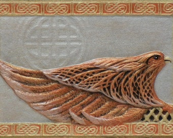 Celtic Falcon - Cast Paper - Zoomorphics - Irish falcon- Irish art - Celtic art - Scottish art - Celtic knot