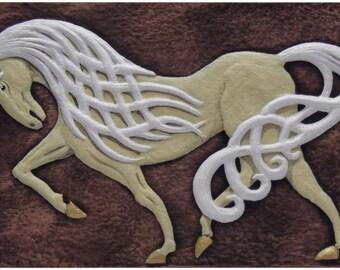 Celtic Steed  - Cast Paper - Celtic Horse - Horse - Irish art - Celtic art - Pony - Epona - Rhiannon