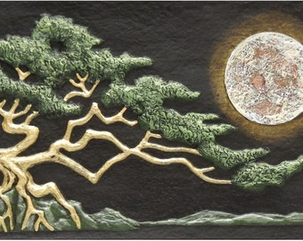 Rising Moon - Cast Paper - Sacred Tree - Full Moon - Oak