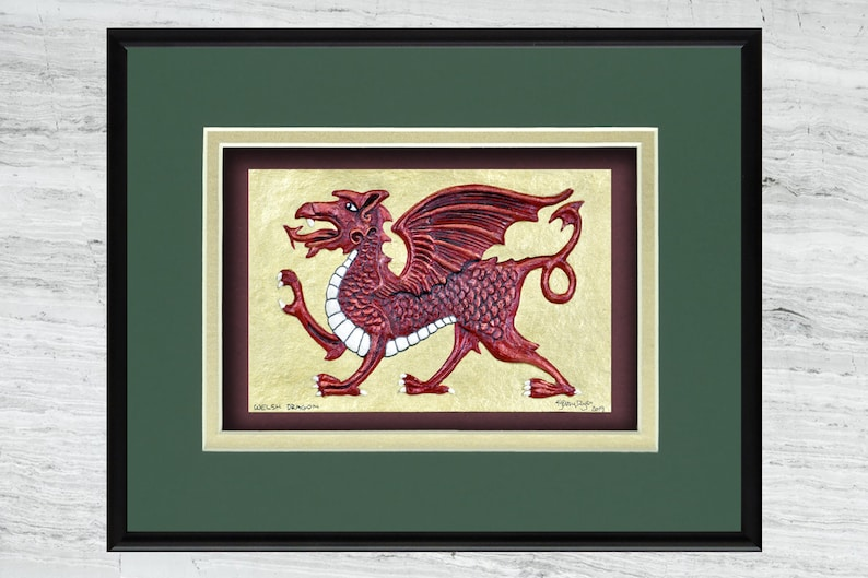 Welsh Dragon  Cast Paper  Fantasy art  Celtic Dragon  image 0
