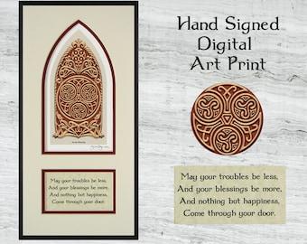 """Celtic House Blessing - Framed Digital Art Print 8"""" x 16"""""""