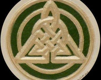 Celtic Triangle II - Cast Paper - Irish Art - Scottish - Celtic Knot Work - Triskelion - Scottish