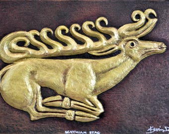 Scythian Stag - Cast Paper - Ancient - Artifact - Gold - Made in USA