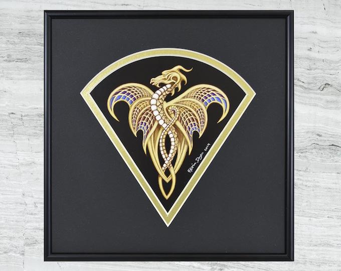"""Fan Dragon - Framed Digital Print - 10"""" x 10"""""""