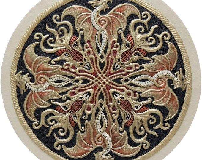 Dragon Shield - Cast Paper - Fantasy art - Celtic Dragon - Drake - Draco - Celtic Drake