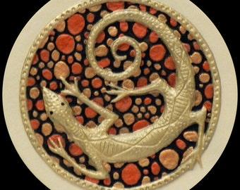 Zuni Lizard - Cast Paper - south western art - Anasazi