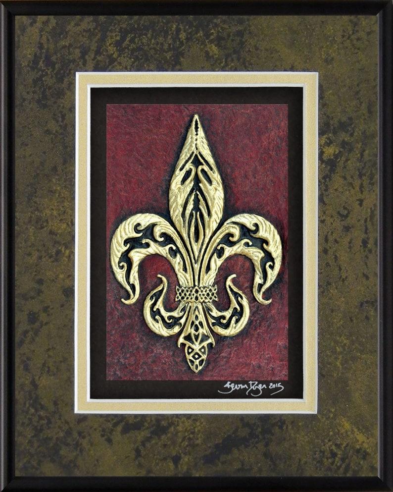 Fleur-De-Lis  Cast Paper  Heraldry  Flower of the Lily  Blk Mrble-Gold-Black