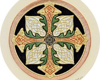 Celtic Cross of Creation - Cast Paper - Celtic Blessing - Irish art - Scottish art - Irish gift - Celtic Wheel - Ireland