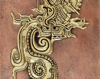 Mayan Divine Serpent - Cast Paper - Snake - South American - Guatemala - wall decor