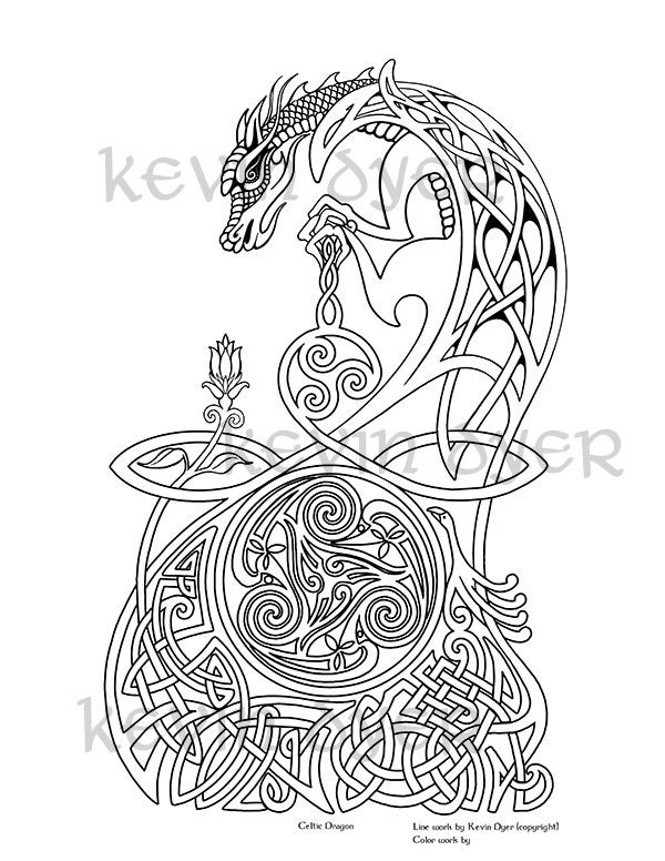 celtic adult coloring pages | Celtic Fantasy Adult Coloring Pages - Digital Download ...