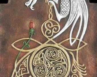 Celtic Dragon - Cast Paper - Fantasy art - Celtic Dragon - White Dragon - Drake - Draco - Celtic Drake
