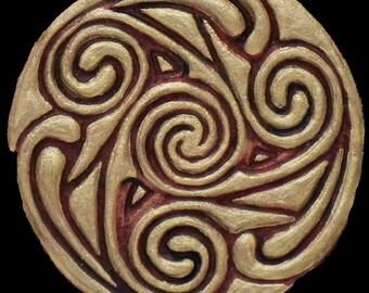 Celtic Wheel II - Cast Paper - Irish Art - Scottish - Celtic Knot Work - Spiral - Triskelion - Triskele