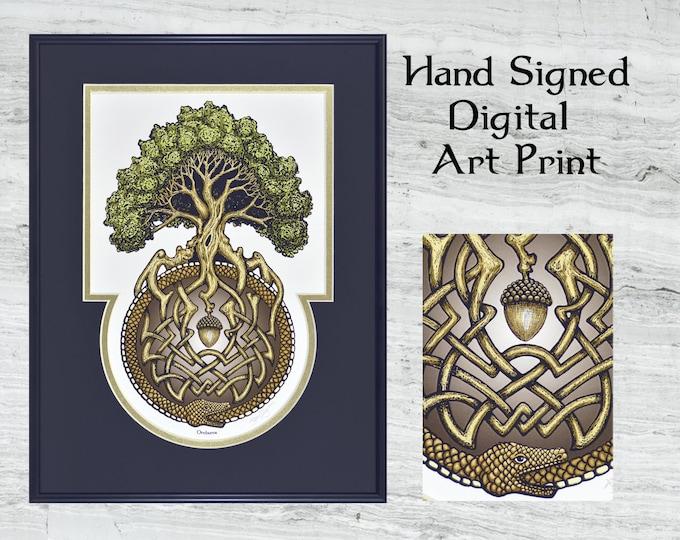 "Ouroboros Tree- Framed Digital Art Print 12"" x 16"""