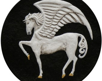 Pegasus - Cast Paper - Fantasy art  - legendary creature - mythology - magical horse - winged horse - flying horse - greek mythology