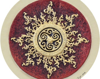 Celtic Sun - Cast Paper - Celestial - Irish art - Celtic art - Scottish art - Celtic Knot - Celtic Wheel