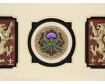 Scottish Triptych - Cast Paper - Celtic art - Scottish art - Scottish Gaelic - Scotland - Scottish clan - Emblem of Scotland