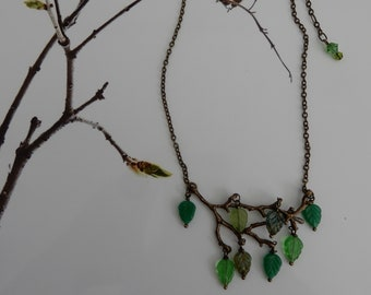 A Walk in the Woods, woodland, branch, twig, leaves czech glass beads,antique bronze charm necklace