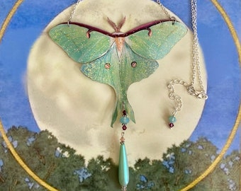 Luna Moth necklace, Butterfly necklace,Moth necklace,Swarovski crystal , gifts for her, gardeners gift,garden jewelry,