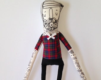 My Little Hipster- Boyfriend- Handmade Art Doll- Painted Plush- Mustache- made to order softie - children's toy and soft sculpture