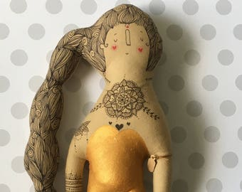 Handmade Vintage Inspired Art Doll of Painted Beautiful Henna Tattoos OOAK-  soft sculpture- made to order