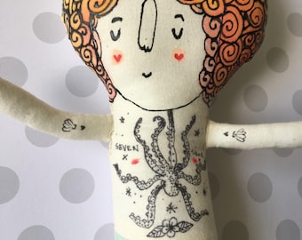 One left in stock - Little Mermaid with  Nautical Tattoos - One of a Kind Hand Painted Plush Doll- Made to Order