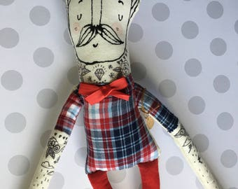 One left in stock -My Little Hipster- Boyfriend- Handmade Art Doll- Painted Plush- Mustache- Ready to Ship softie - children's toy  and soft