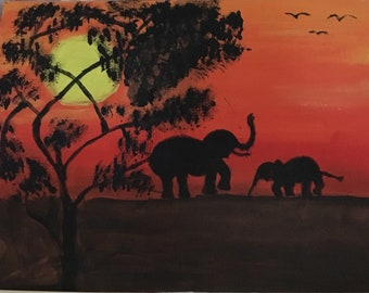 Oil painting on canvas African sunset elephants hand painted