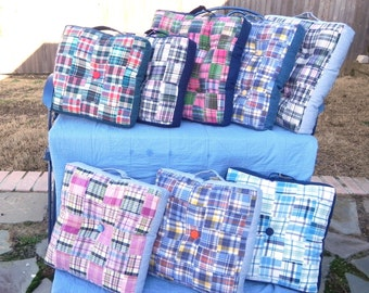 Patchwork Madras Box Pillow 3 sizes