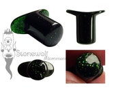 Green Goldstone Round Glass Labret with T-Back Custom Made to Order for Stretched Lip Piercings Stone Plug