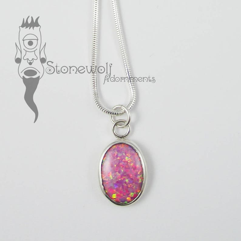 Pink Opal With Sterling Silver Pendant Necklace Ready To Ship
