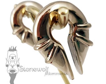 Pair of Bronze Electromagnet Ear Weights for Stretched Lobes