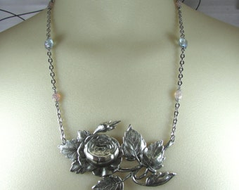 Romantic rose floral handmade necklace