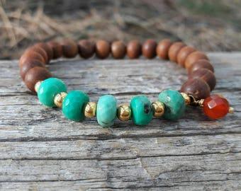 Green Opal and Sandalwood Bracelet, Yoga Jewelry, Fragrant Sandalwood, Bohemian Jewelry, Boho, Natural Gemstones, Carnelian, Yoga Bracelet